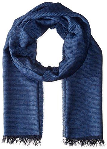 AJ - Armani Jeans Sciarpa lana e modal logato, blu, T.U