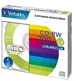 三菱化学メディア Verbatim CD-RW 700MB くり返し記録用 1-4倍速 5mmケース 5枚パック 5色カラーミックス SW80QM5V1