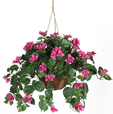 Nearly Natural 6608 Bougainvillea Hanging Basket Decorative Silk Plant, Beauty