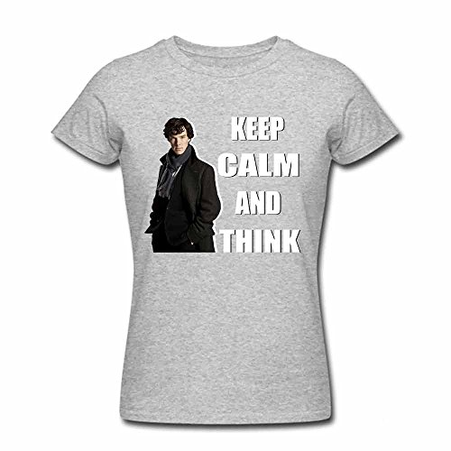 Detective Sherlock Keep Calm and Think Women's Cotton T shirt XL
