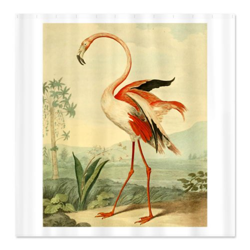 Detail Shop CafePress Vintage Flamingo Shower Curtain