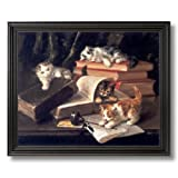 Kitty Cat Kittens On Books Home Decor Wall Picture Black Framed Art Print