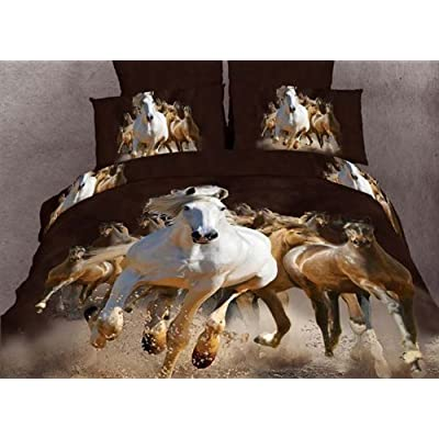 Good D Animal Panther Leopard Print Bed Covers Oil Painting Tiger Bed Sheets Horse Duvet Covers Dophin Queen King Popular Comforter Set Pcs queen horse