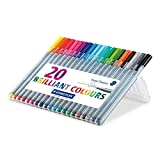 Staedtler Triplus Fineliner 334 Superfine Point Pens, 0.3 mm - Assorted Colours, Pack of 20