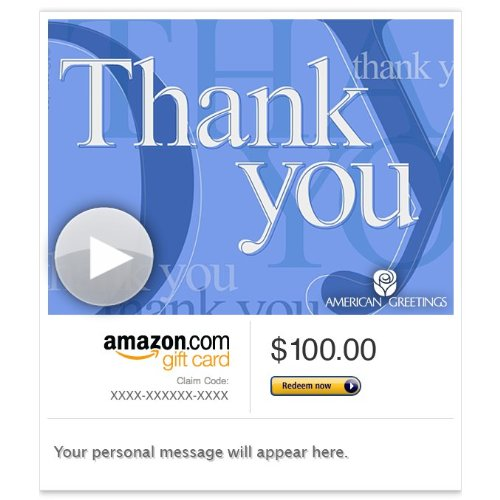 Amazon gift card e mail sincere thank you animated american