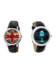 Gledati Men's Multicolor Dial And Foster's Women's Black Dial Analog Watch Combo_ADCOMB0001903