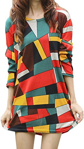 Cinqueint Women Crewneck Color Block Long Sleeve Knitted Jumper Tee Shirt