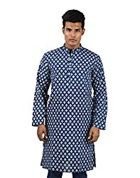 Festival Cotton Shirt Blue Royal Kurta Hand Block Printed Medium Long shirt Floral Men's kurta By Rajrang
