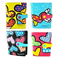 Authentic Romero Britto Small Wallet Heart Leather Coin Purse Bag Pop Art Women