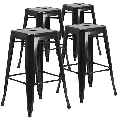 4 Pk. 30'' High Backless Black Metal Indoor-Outdoor Barstool with Square Seat (Amazon Bar Stools compare prices)