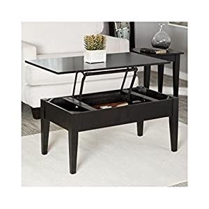 Lift Top Occasional Cocktail Table With Storage And 2 End Tables In Black 40 Inches