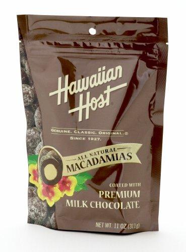 Hawaiian Host MACADAMIA NUTS, Premium Milk Chocolate, LARGE 11 oz (Resealable Bag)