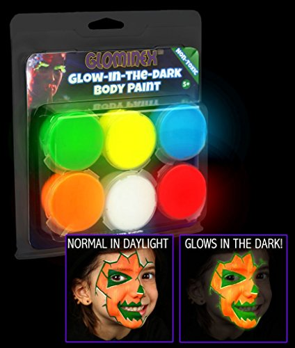 Glominex AR698 Glow in the Dark Body Paint Clamshell Pack – Assorted