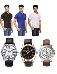 Pack Of 3 Rico Sordi T-Shirt With 3 Men's Watches