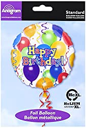 Anagram International Hx Balloons & Stars Happy Birthday Balloon, Multicolor