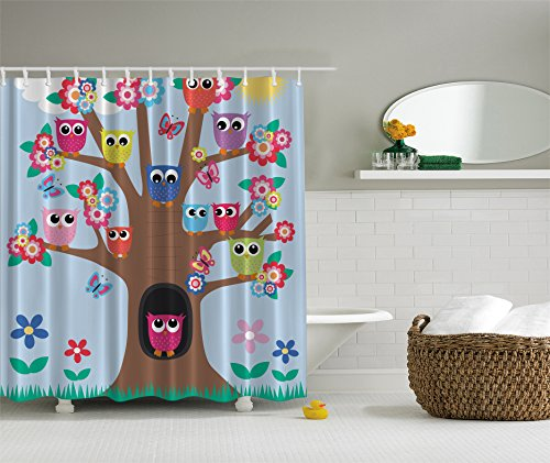 Shower curtain brown green blue yellow multicolor inexpensive store