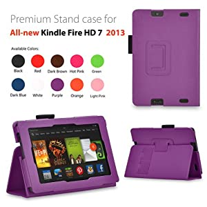 EnGive Premium PU Leather Skin Cover Case for 2013 Model Amazon Kindle Fire HD 7 (Kindle Fire HD 7 2013 Model, purple)