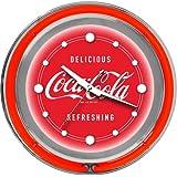 "Coca-Cola Chrome Double Ring Neon Clock, 14"""