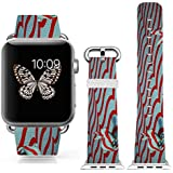 Iwatch Bands Strap 42mm Apple Watch Band Genuine Prime Elegant Leather Replacement For All IWatch With Silver... - B01BSMJ3GU