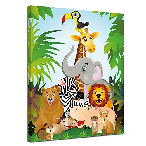"""Bilderdepot24 Leinwandbild """"Kinderbild Dschungeltiere Cartoon II"""" - 50x70 cm 1 teilig - fertig gerahmt, direkt vom Hersteller"""