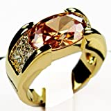 Trendy Lions Mens 18k Gold Filled high quality Topaz ring (10.0)