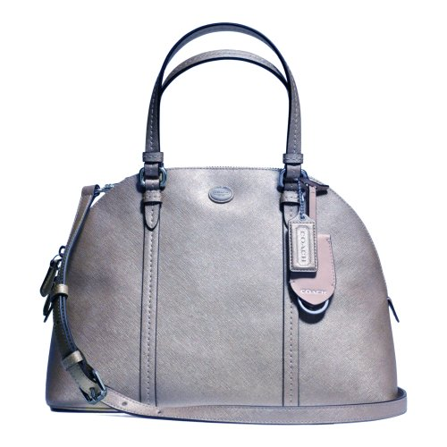 Coach   Coach Peyton Leather Cora Domed Satchel - Silver 25671
