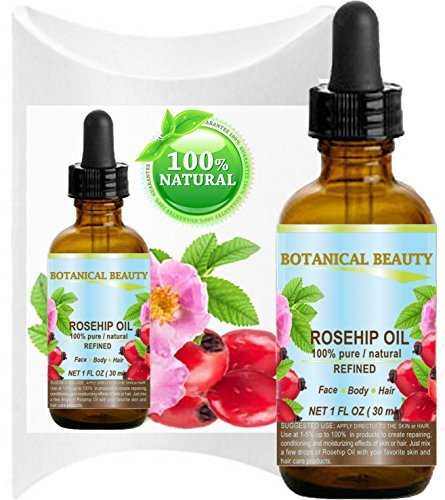 ROSEHIP OIL 100% Pure / Natural /Refined / Undiluted for Face, Body, Hair and Nail Care. 1 Fl.oz.- 30 ml.