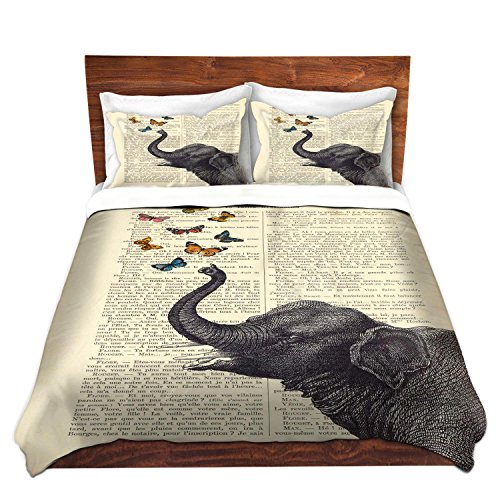Duvet Cover Brushed Twill Queen from DiaNoche Designs Home Decor and Bedding Ideas by Madame Memento - Elephant Butterflies