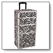 29 inch 2 in 1 Animal Print Pattern Aluminum Professional Rolling Wheeled Makeup Artist Trolley