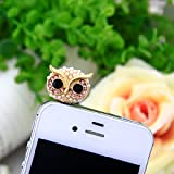 JADE Onlines 3.5mm Bling Shinning Rhinestone Crystal Cellphone Charms Stoppers Earphone Jack Anti Dust Plug Ear Jack Cap for iPhone 4 4S Samsung Galaxy S2 S3 Note I9220 HTC Sony Nokia - Rhinestone Pearl Golden Owl Style