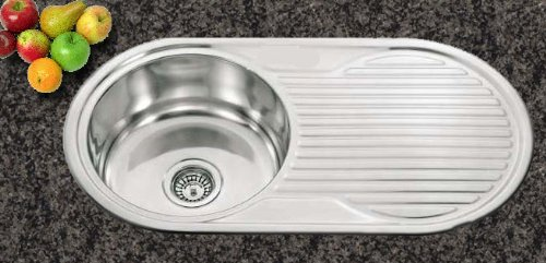 Kitchen Sinks Inset Round Bowl Polished Finish With Drainer AND Full Waste Kit (N01 mr)