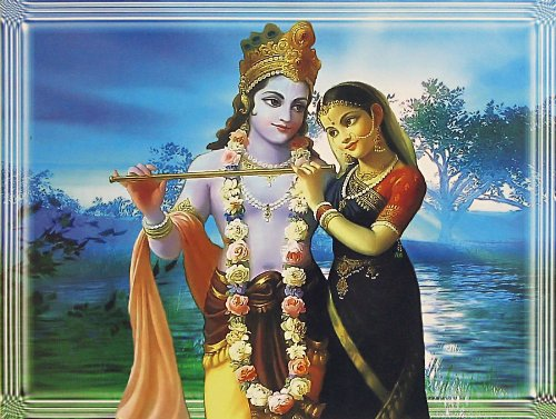 """Dolls Of India """"Radha Krishna - The Divine Lovers"""" Reprint On Photographic Paper - Unframed (36.83 X 29.21 Centimeters..."""