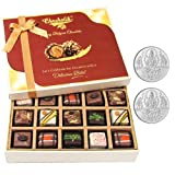 Chocholik Belgium Chocolates - Yummy Treat Of 20pc All Pralines Chocolate Box With 5gm X 2 Pure Silver Coins -...