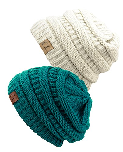 Unisex Trendy Warm Chunky Soft Stretch Cable Knit Slouchy Beanie Skully (Gift Set- Teal & Ivory)