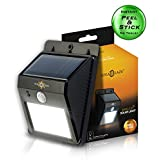 SolarBlaze Bright Solar Powered Outdoor LED Light - Auto ON at Night / Auto BRIGHT with Motion Sensor - Wireless Security Lighting - No Tools Peel 'N Stick - No Battery Required for Patio, Outside Wall, Stairs, Home, RV, Deck