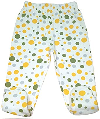 Organic Cotton Baby Pants Footed GOTS Certified Clothes (Dots, 0-3m)