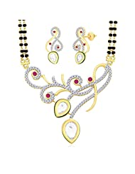 "MGold Valentine 18 Karat Gold Plated Cubic Zirconia ""Sonakshi"" Mangalsutra Earrings Set PM93GJ"