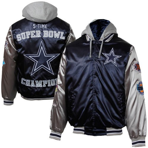 Dallas Cowboys Navy Commemorative 5X Super Bowl Champs Satin Varsity Jacket at Amazon.com