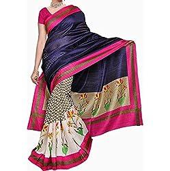 Look Smart Bhagalpuri Silk Saree (RIMZIM BLUE_Multicolor)