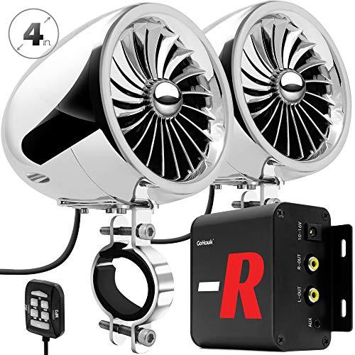 "GoHawk TJ4-R Amplifier 4"" Full Range Waterproof Bluetooth Motorcycle Stereo Speakers 1 to 1.5 in. Handlebar Mount Audio Amp System Harley Touring Cruiser ATV UTV RZR, AUX, FM Radio"