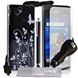 Stylish Butterfly Flower Hard Hybrid Case Cover For The Sony Ericsson Xperia Arc X12 S Black Silver With Stylus Pen Car Charger Screen Protector Film And Grey Micro-Fibre Polishing Clothby Yousave