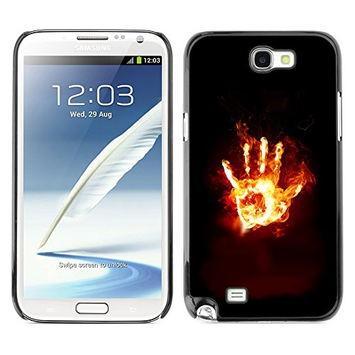 DesignCase Premium Slim PC / Aluminium Combo Schutz Hülle Tasche Slim Case Cover Armor - Flaming Hand From Hell - Samsung Note 2