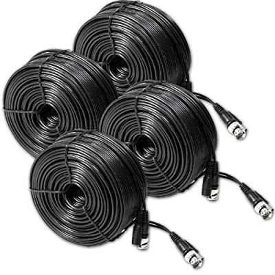 4 Pack 60ft AWG30 Premade Siamese CCTV Video + Power Cable