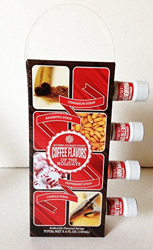 Modern Gourmet Foods Holiday Coffee Syrups Cinnamon Peppermint Vanilla Amaretto Flavors Gift Set