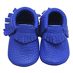 Mejale Baby Soft Soled Leather Moccasins Tasssel Slip-on Infant Toddler Shoes Pre-walker(18-24 months,blue)