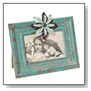 Distressed Aqua Photo Frame with a Blue Metal Flower Accent