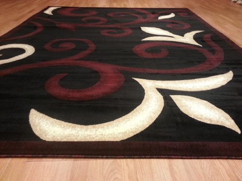 E525 Contemporary Modern Transitional Branch Leaves Design Black Red 5x8 Actual Size 5'3x7'2 Rug