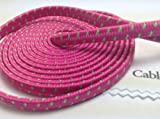 CablesFrLess (TM) 6ft Flat Braided Micro USB Charging / Data Sync Cable fits most Android Phones and Tablets Samsung Galaxy S3 S4 Reverb Note Tab Google Nexus Kindle Nokia Lumia HTC One ASUS LG G2 Pantech Blackberry Motorola Sony Xperia etc. (Hot Pink)