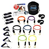 Bodylastics 19 pcs Resistance Bands Set *STRONG MAN with 7 Stackable anti-snap exercise tubes, Heavy Duty components, carrying case, and FREE 6 month access to over 2000 full length resistance bands workout videos from Pilates to MMA