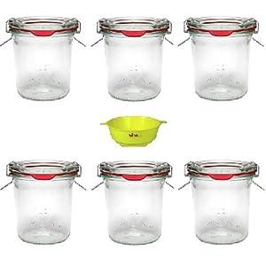 Viva Haushaltswaren - 6 Mini Weckgläser Rundrandgläser in Sturzform 140 ml inklusive Klammern und Ringen und einem gelben Einfülltrichter mit Arretierung